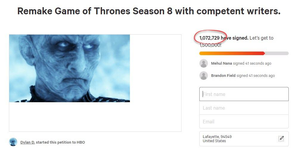 "Over 1 Million Viewers Urge Remake Of Game Of Thrones Final Season ""With Competent Writers"""