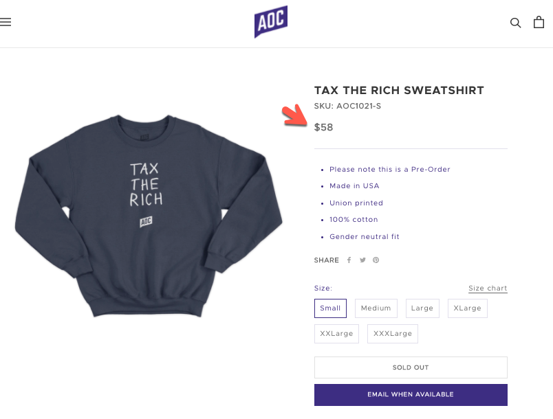 "Capitalism For Me, Socialism For You – AOC Unveils ""Tax The Rich"" Sweatshirts… At $58 Each! 