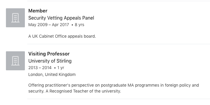 Screenshot of Claire Smith's LinkedIN showing her service on the Security Vetting Appeals Panel while also occupied as a visiting Professor at Stirling University