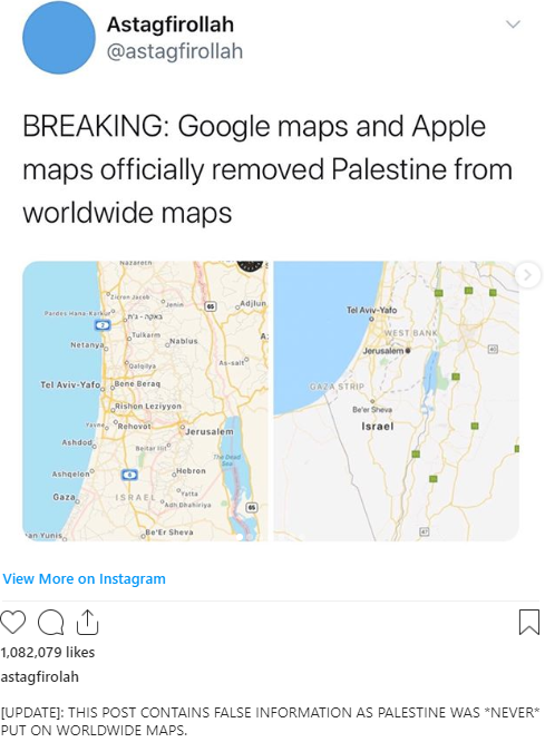 Google Faces Backlash Over Claims It 'Deleted' Palestine From Maps