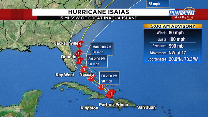 Isaias Strengthens To Category 1 Hurricane With South Florida In Sight