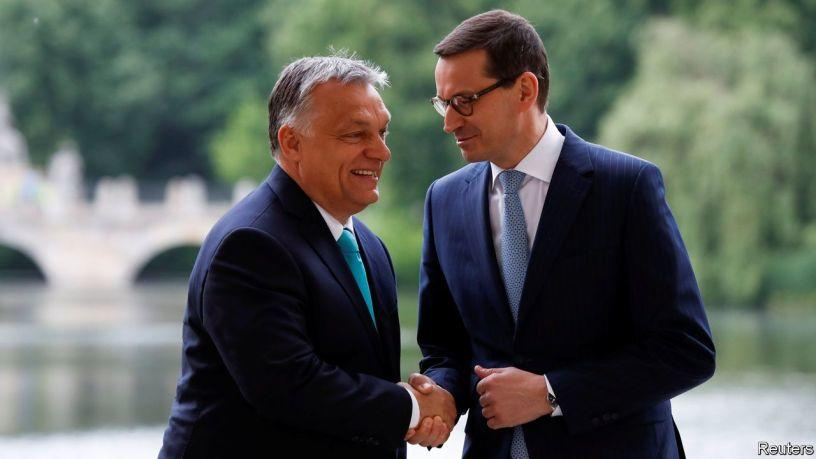 This image has an empty alt attribute; its file name is orban-moraweicki-eu-hungary-poland.jpg