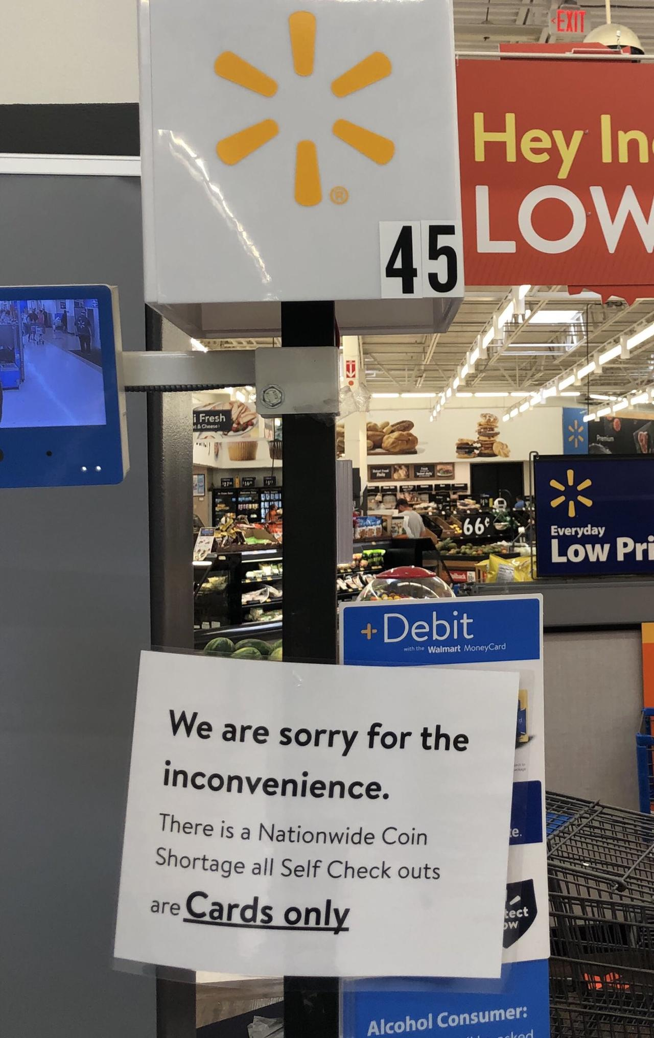 Coin Shortage Strikes Walmart, Customers Required To Pay With Card At Self-Checkout Walmart%20coin%20shortage