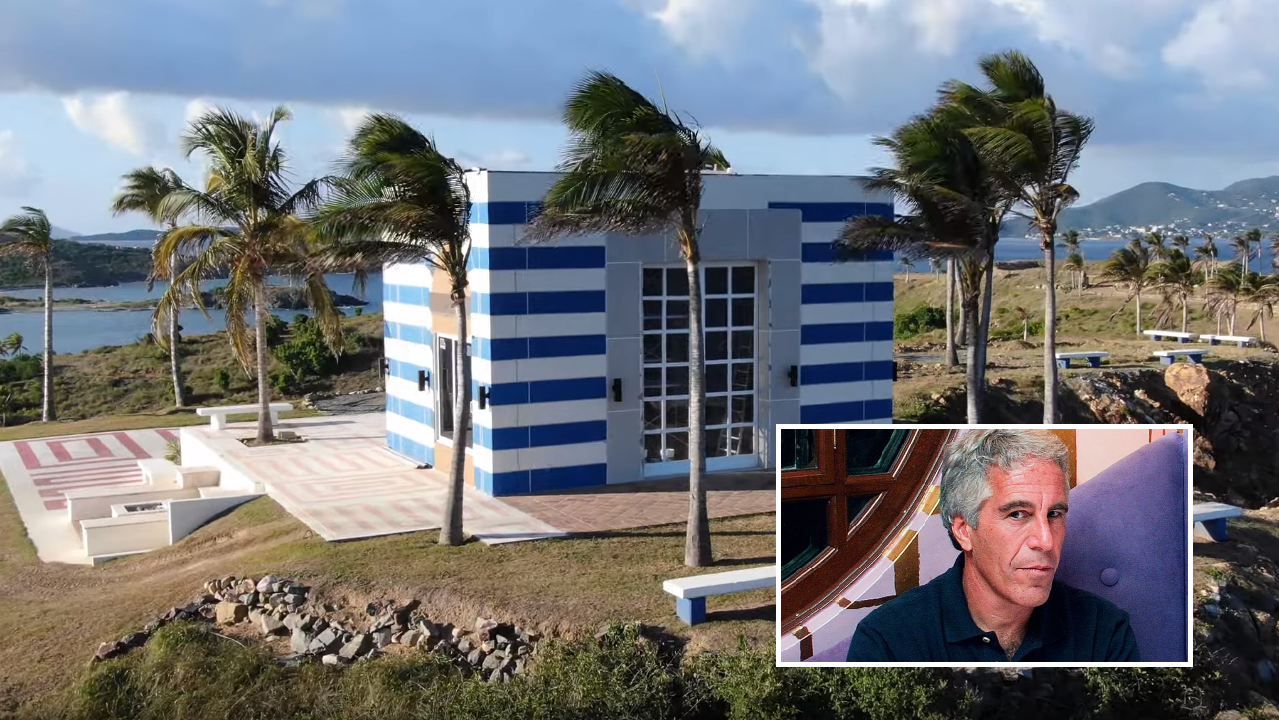 Jeffrey Epstein's Weird Blue-Striped 'Temple' Completely Different From Approved Blueprints