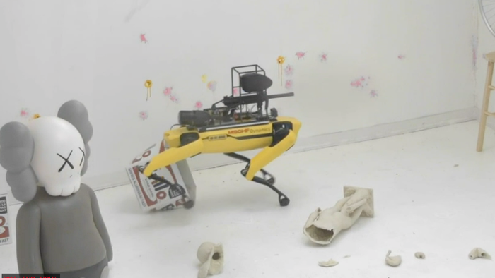 Watch Live: Boston Dynamics Spot Robot Goes On Rampage With Paintball Gun