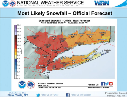 "De Blasio Warns Of ""Dangerous"" Snowstorm As Two Feet Expected"
