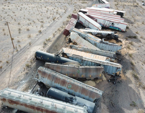 Stunning Views Of Freight Train Derailment In California Desert 5