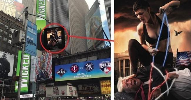 Times Square Billboard Shows Trump Being Hogtied & Tortured