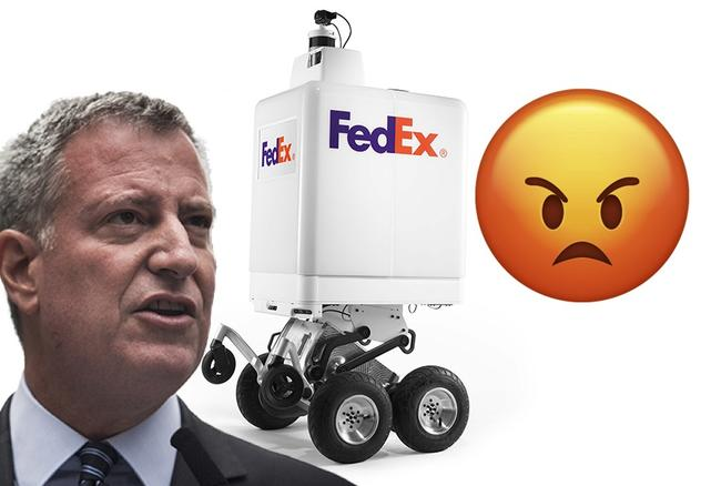Triggered: Mayor de Blasio Threatens To Destroy FedEx Robots Running Around New York